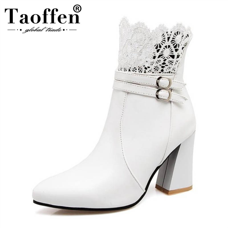 TAOFFEN Lace-Shoes Short-Boots High-Heel Plus-Size Women Footwear Ankle Buckle Zip Office
