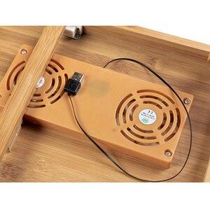 Image 5 - Эргономичный регулируемый стол для ноутбука с USB охлаждающим вентилятором для круглого стола бамбуковый складной поднос для завтрака удобный желтый