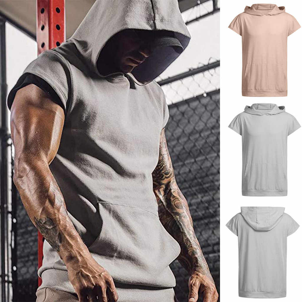 Heren Running Vest Zomer Casual Hooded Pocket Tank Tops Korte Mouwen Sport Top Vest Bodybuilding Gym Workout Heren Kleding 2019