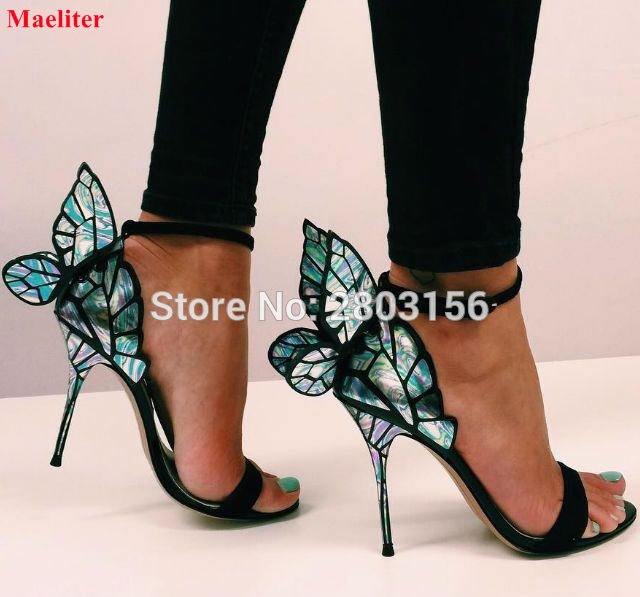 ba8f2144188 Colorful Wings Thin High Heel Sandals Women Open Toe Pumps Butterfly Heels  Sandals Sexy Wedding Party Shoes