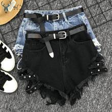 дешево!  HXJJP 2019 Лето Новая Мода Свободные Черные Широкие Ноги Высокой Талией Джинсовые Шорты Сексуальные  Луч�