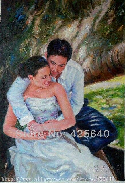 Benutzerdefinierte Kunst Hochzeit Portrat Hand Gemalte Portrat Auf