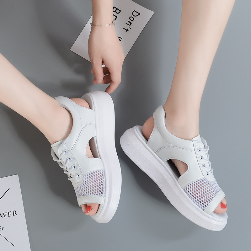Femmes Talon Bas Femme Dentelle De Sandales up Mode Gladiateur Chunky Dames Pour Chaussures D'été Blanc dBroeCxW