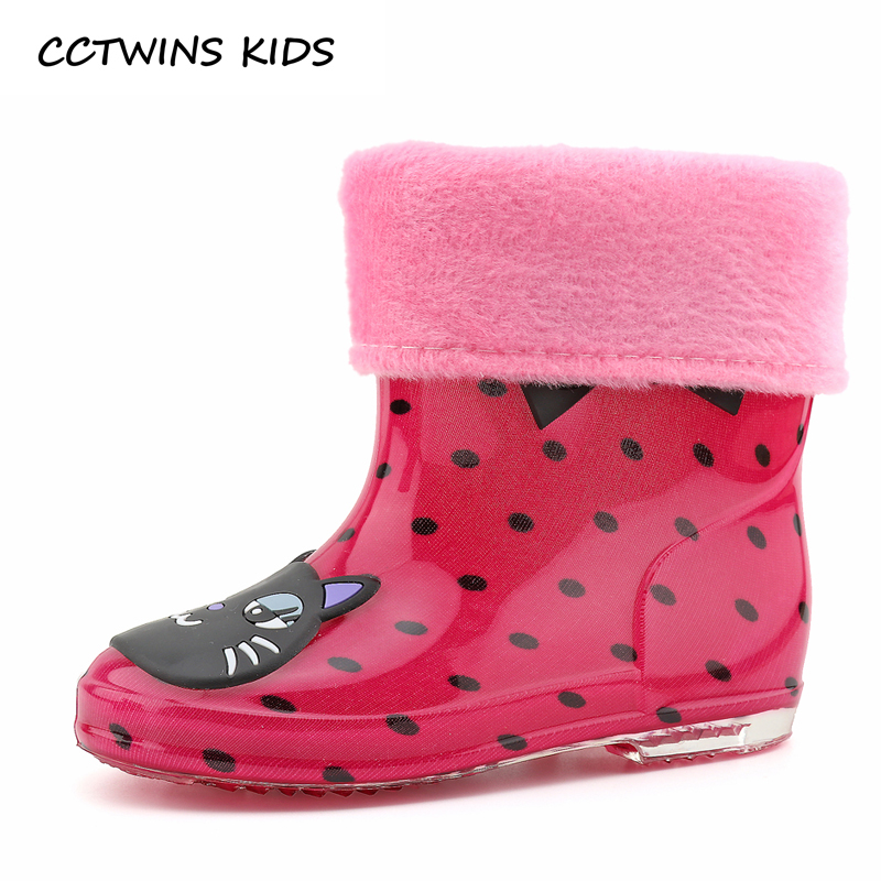 CCTWINS KIDS 2017 Summer Kid Brand Waterproof Shoe Children PVC Baby Girl Blue Rain Boot Boy Wellington Yellow Booties C1107