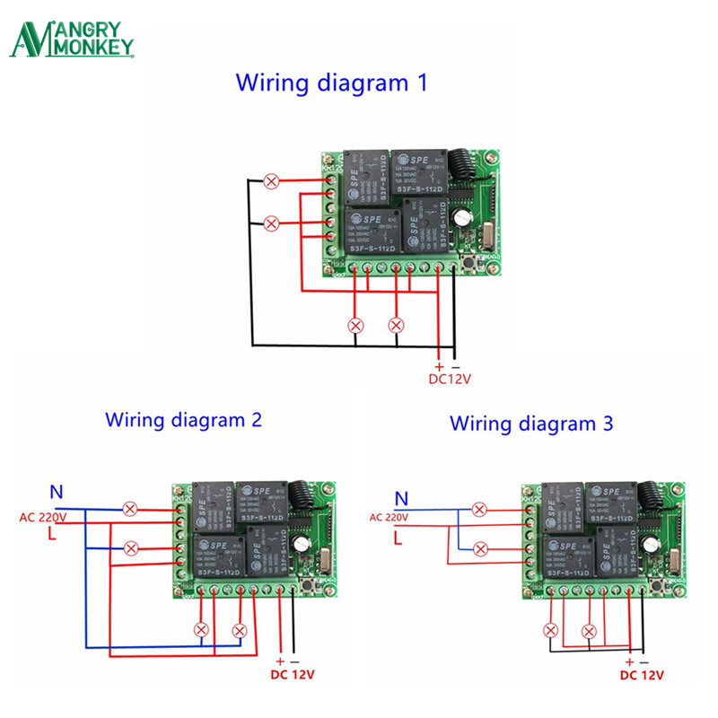 433mhz universal wireless remote switch dc12v 4ch rh zipy co il