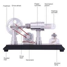 Doppel zylinder Micro DIY Stirling Motor Externe Verbrennung Motor Schule Demonstration Frühen Lernen Bildung Spielzeug Für Kinder