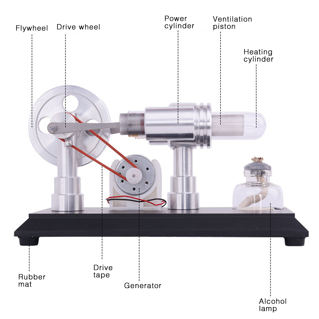 Duplo-cilindro Micro DIY Motor Stirling Motor de Combustão Externa de Demonstração Escola Early Learning Educação Brinquedos Para Crianças
