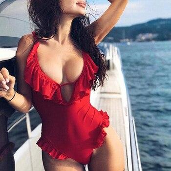 Bañador de una pieza con escote en V y volantes, bañador de 2019 para mujer con Espalda descubierta, bañador sexi Monokini de corte alto, Push Up