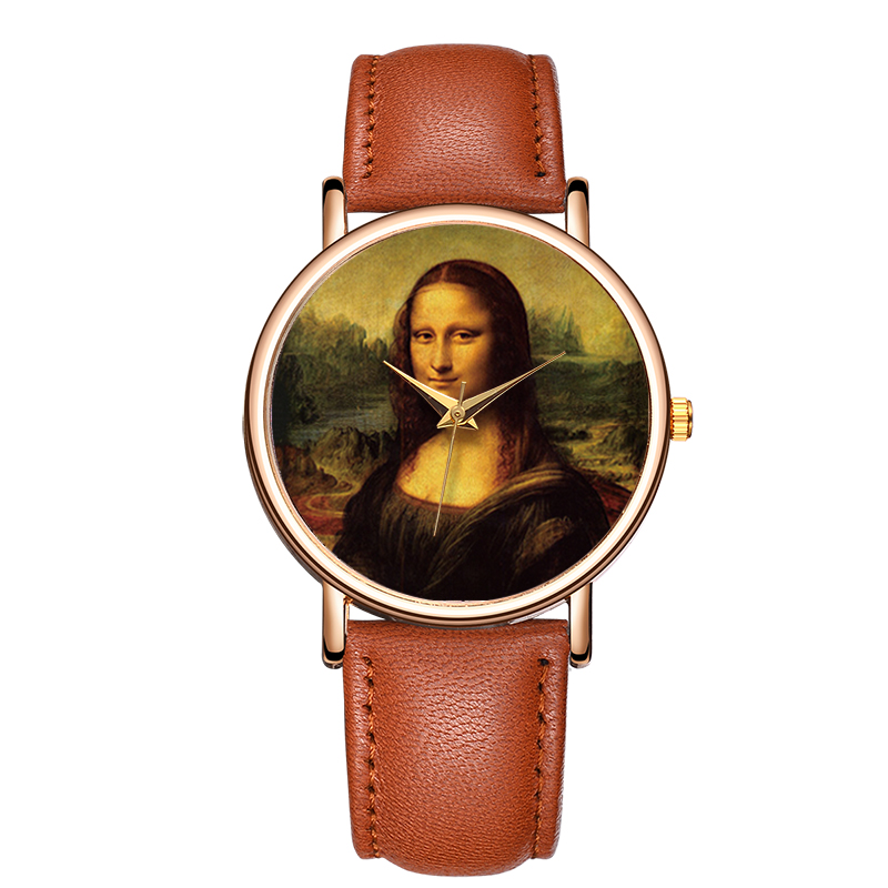 BAOSAILI Top Brand Watches Women Mona Lisa Smile Dial Lady Wrist Watch Relojes Roman Number Quartz Wristwatches Leather Strap