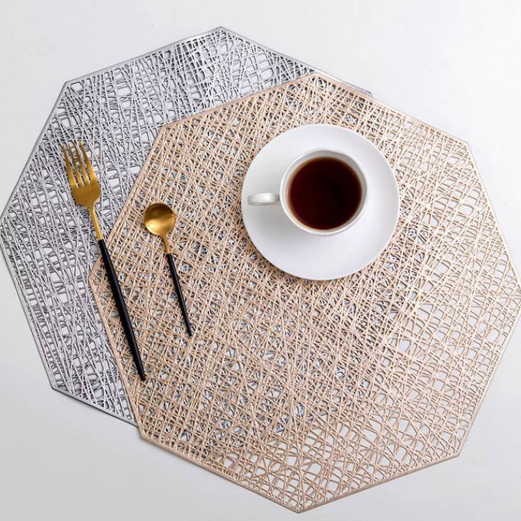 1pcs Creative PVC Placemat For Dinner Table Plastic Octagonal Hollow Heat-insulated Pad Waterproof Non Slip Mats Home Decoration