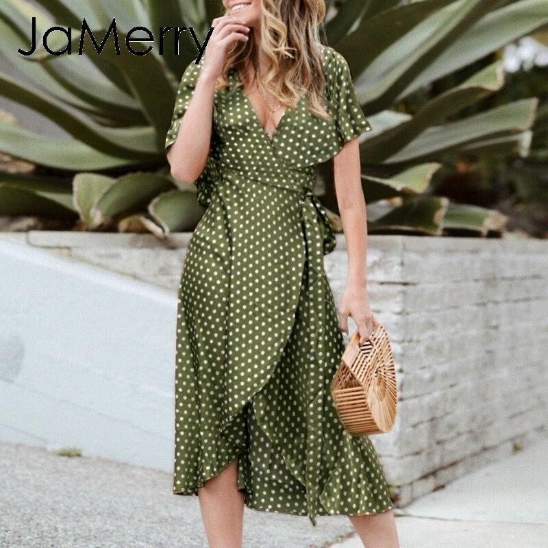 a5a5df9d65 JaMerry Vintage polka dot sexy chiffon women summer maxi dress Boho v neck  sashes beach holiday dresses Party long dress vestido-in Dresses from  Women's ...