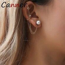 CANNER Creative Gold Earrings Long Pearl for Women Ear Cuff Clip Dangle/Drop Korean Earings Fashion Jewelry FI
