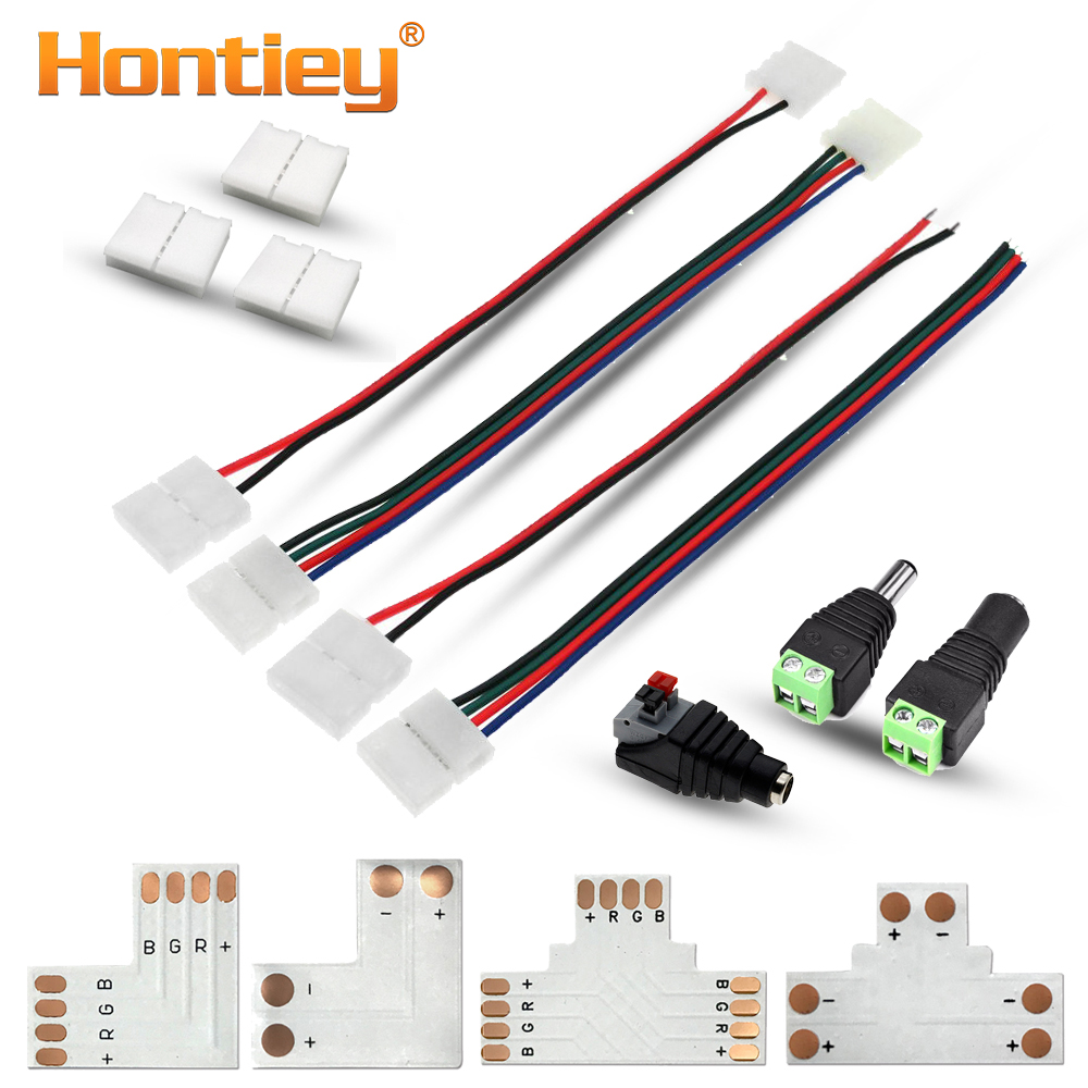 Hontiey RGB LED Strip Connector 2/4pin 8mm/10mm Free Welding Power Connector 5pcs/lot T L Shape Chip Adaptor For 3528/5050