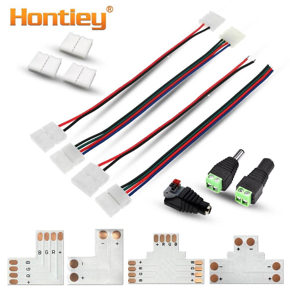 Hontiey RGB LED connecteur de bande 2/4pin 8mm/10mm connecteur de puissance de soudage gratuit 5 pcs/lot T L forme adaptateur de puce pour 3528/5050Hontiey RGB LED connecteur de bande 2/4pin 8mm/10mm connecteur de puissance de soudage gratuit 5 pcs/lot T L forme adaptateur de puce pour 3528/5050