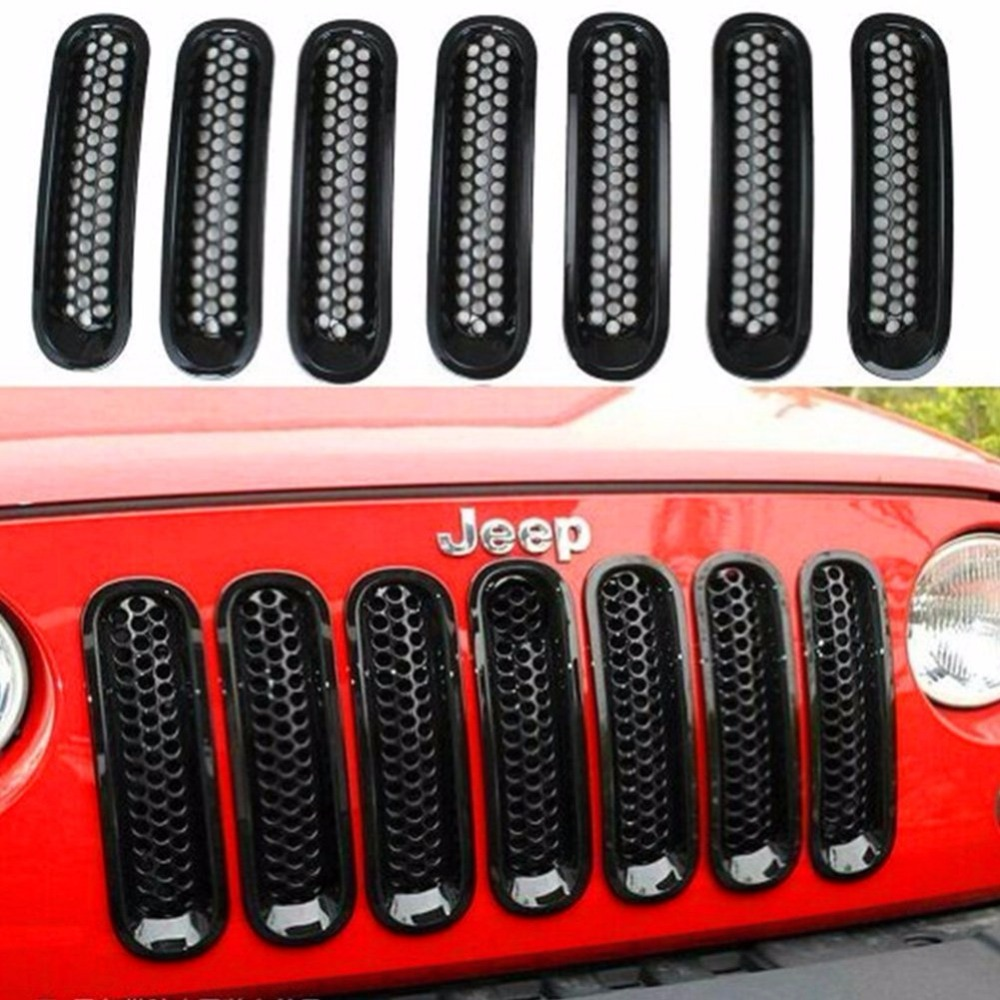 7PCS Black ABS Mesh Front Insert Grille Trim Cover Without Lock Hole For Jeep Wrangler JK 2007-2015 открытки даринчи набор новогодних флажков
