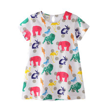 23b456514 Saltar metros bebé niñas animales vestidos con un bonito León elefante  conejo niños Venta caliente ropa de verano caliente