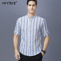 HIYSIZ NEW Cotton Men Shirts 2019 Tops Casual Vertical Striped Streetwear Full Shirts Men Mandarin Collar Shirt For Summer ST034