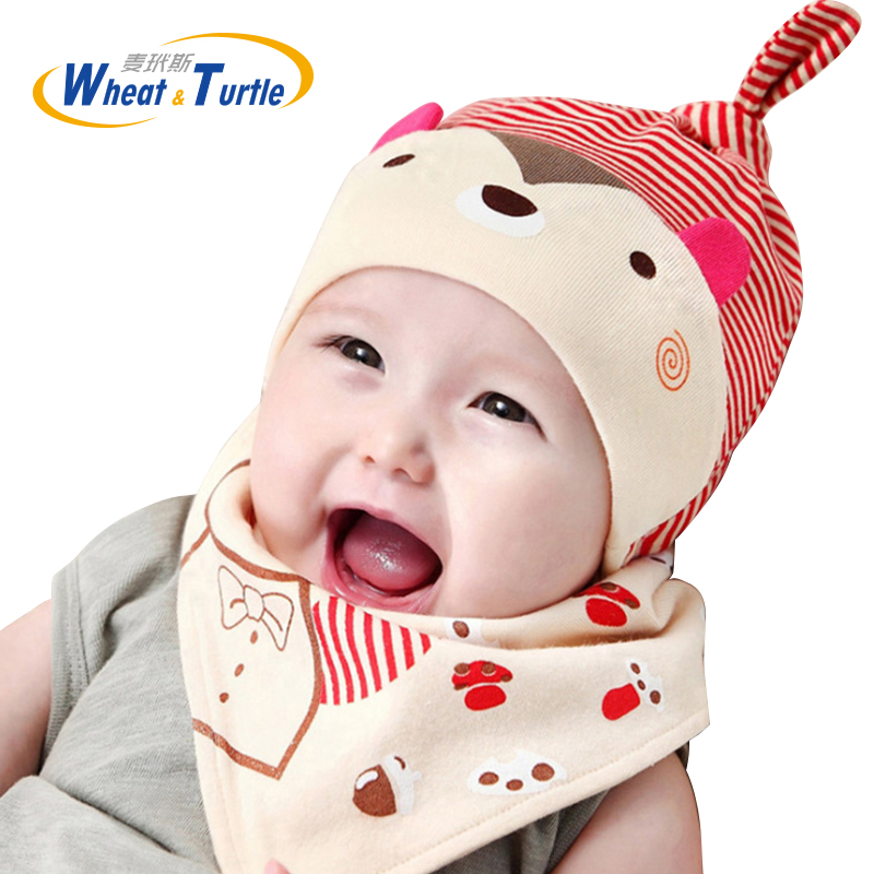Accessories Cotton Baby Hat Scarf Kids Hat Autumn Winter Children Scarf-collar Boys Girls Warm Beanies Printed Infant Hats Sets