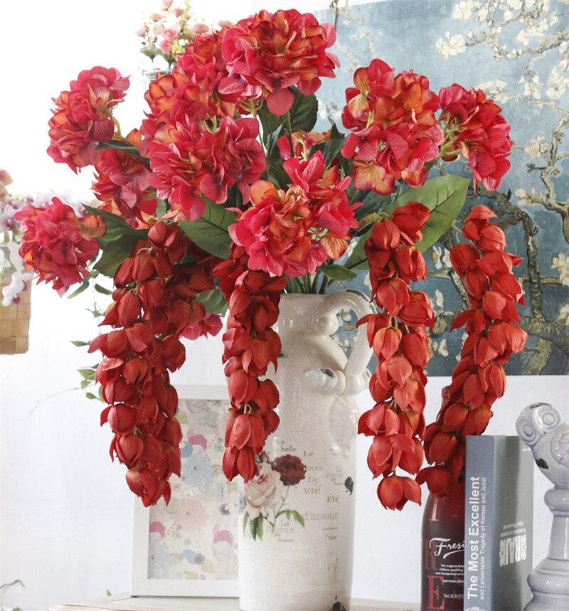 Artificial Decorations Home & Garden New Hi-q Artificial Lantern Flower Rattan Wisteria Diy Wedding Flower Vine Hanging Christmas Party Flower Wall Decor Wisteria