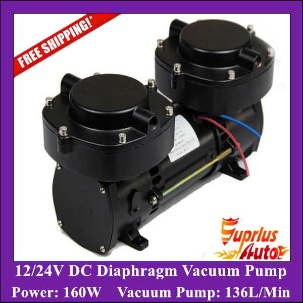 Free Shipping GZ70B 12 12 24V DC Oil Free Electric Diaphragm Vacuum Pump 136LPM vacuum flow