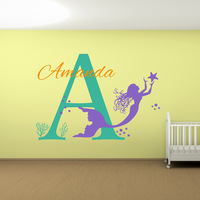 Mermaid Baby Girl Name Custom Nursery Wall Sticker Vinyl Lettering Wall Decals Girls Mermaid Name Decal Bedroom Decals 628C