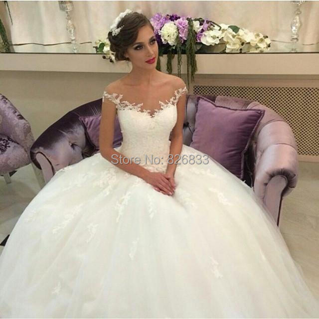 Online Shop Illusion Neckline Ivory Ball Gown Wedding Dresses Elegant Short Sleeves Bridal Gowns 2016 New Arrival