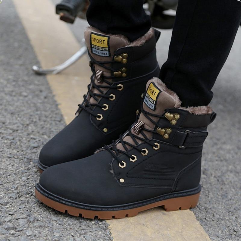 Warm Men s font b Boots b font Winter Pu Leather Ankle font b Boots b