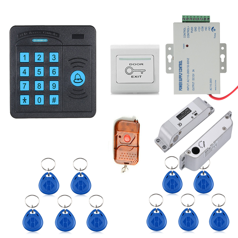 Door Access Control System Controller ABS Case RFID Reader Keypad Remote Control 10 ID cards Electric Drop Bolt Lock lpsecurity 10 tags or 10 cards 125khz gate door lock rfid keypad proximity reader access controller wg26 input for slave reader