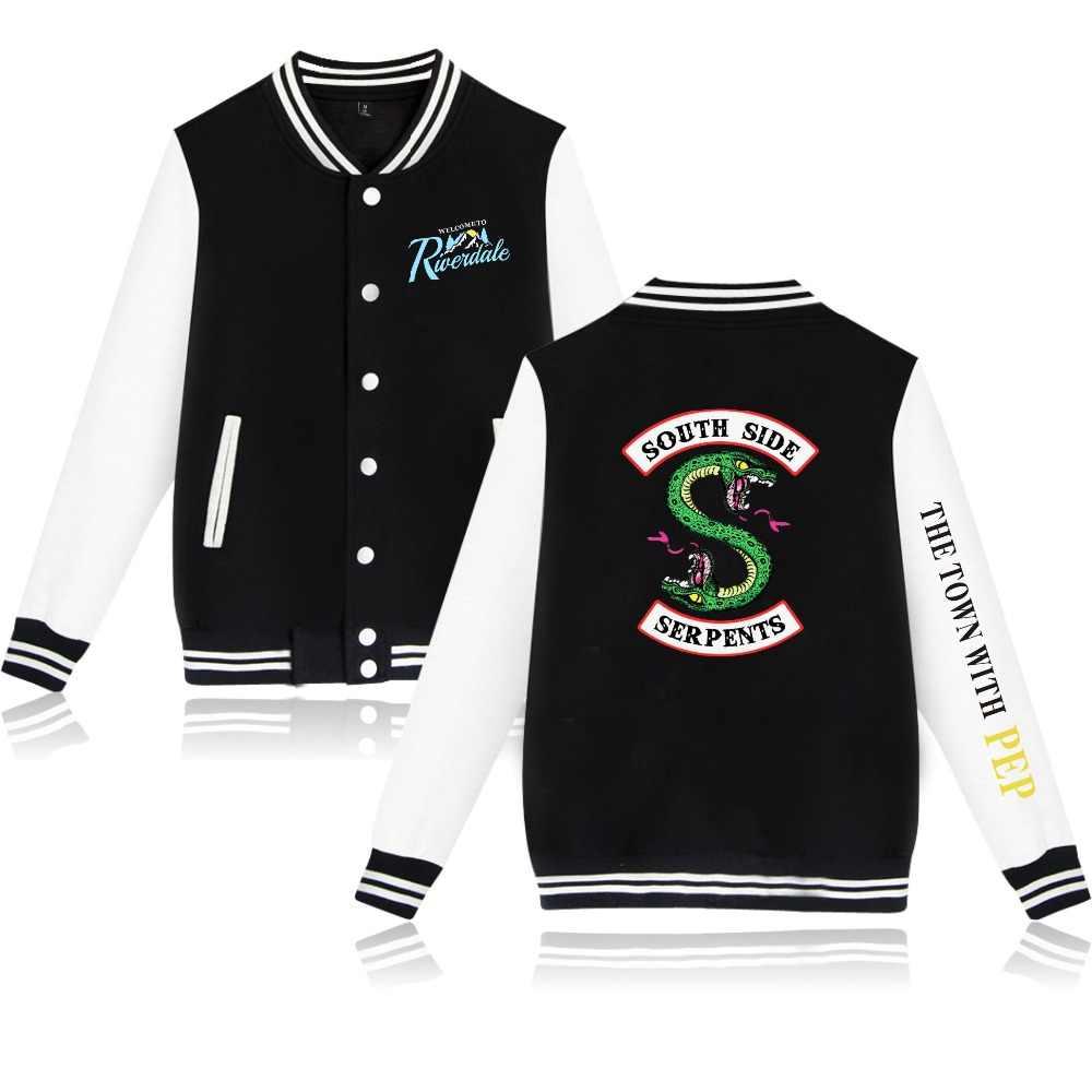 WEJNXIN Riverdale Baseball Jacket Men Women South Side Serpents Fans Hoodies Drama River Town Riverdale Sweatshirt Sudaderas