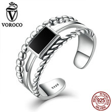 Simple Style Unisex Black Square 3-Rows Hollow 925 Sterling Silver Adjustable Open Ring Fine Jewelry Best Gift VOROCO