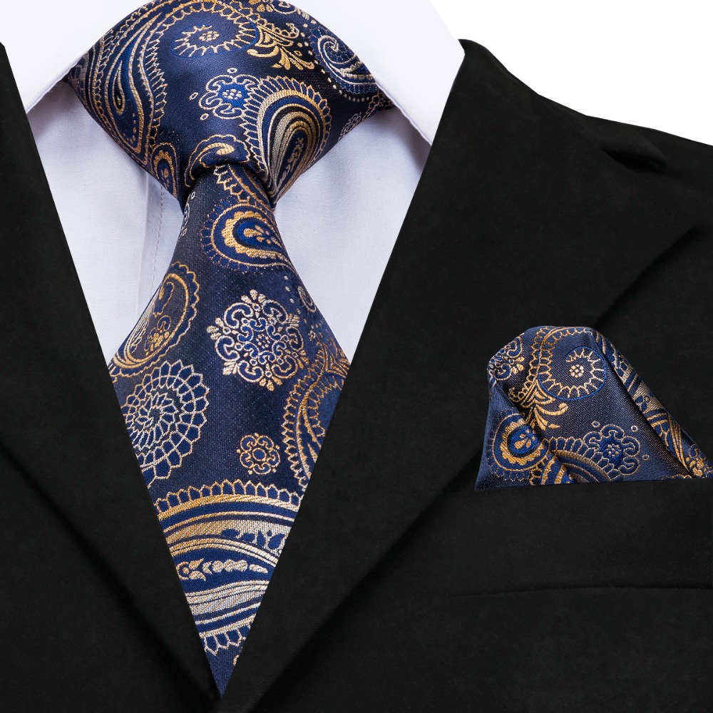 Luxury Blue Paisley Silk Necktie Ties For Men 160cm Long 9cm Wide Large Neck Tie Cufflinks Pocket Square Set Mens Ties GP-010