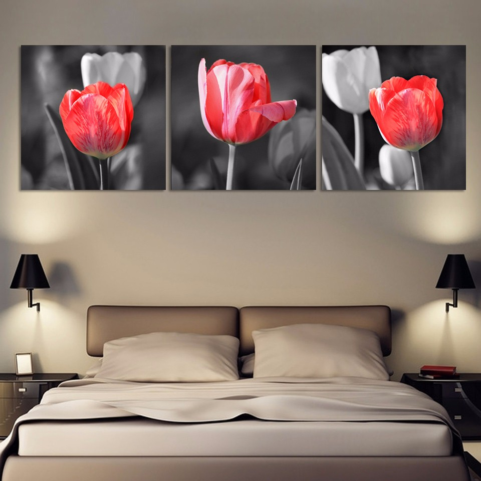 Luxry 3 Panel Hot Sell Modern Wall Painting Home Decorative Art Picture Print On Canvas Prints Red And Gray Tulip Flowers