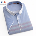 LANGMENG 100% Cotton 2016 New Brand Men's Casual Shirt Short Sleeve Turndown Collar Shirts Slim Fit Dress Shirt For Men Business
