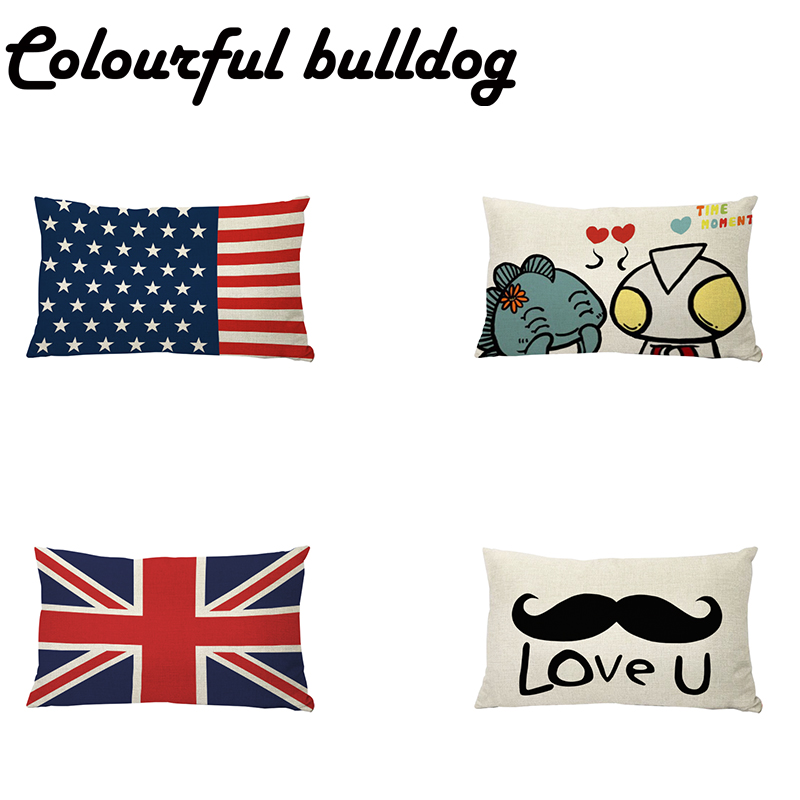 Cartoon Style 30*50cm Flag Cushion Cover Lovely Monster Pillowcase American British French Flag Kids Birthday Gift Party Decor