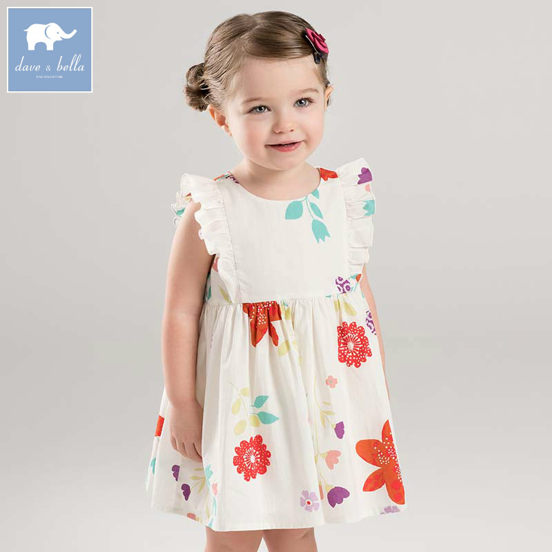 Dave bella summer baby girls floral dress children Lolita lovely sleeveless clothes toddler infant costumes DBA6583 dbm7642 dave bella summer newborn boys fashion costumes infant toddler jumpsuits children lion print clothes baby romper