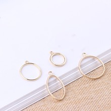 10pcs Gold Metal Round Oval Pendants Charms DIY Stud/Drop Earrings Necklace Making Women Fashion Jewelry Findings Accessories