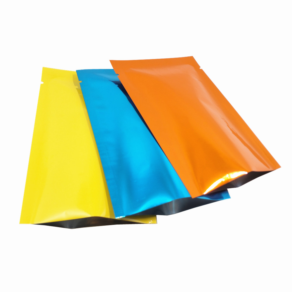 100Pcs/Lot Glossy Colorful Aluminum Foil Bag With Opening Top Heat Sealable Vacuum Bags Snacks Tea Coffee Packaging Storage Bag