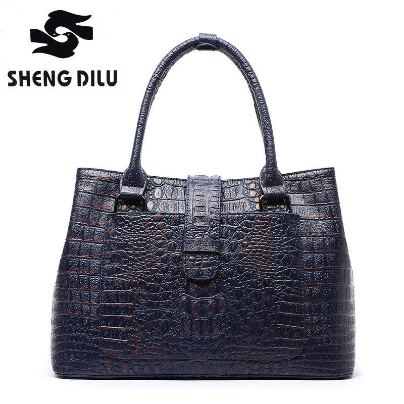 ShengDiLu Genuine Leather Luxury Handbags Women Bags Designer Female Crocodile Pattern Casual Totes Ladies Retro Shoulder