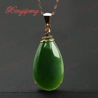 18 k oro rosa con 100% naturale giada ciondolo Spinaci è verde Semplice e facile gioielleria Con diamante