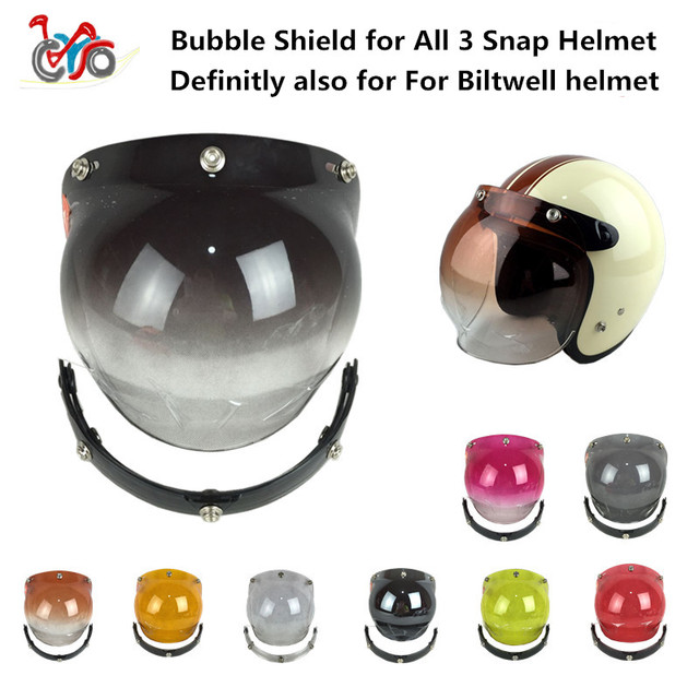 a931c6e9 Bubble Shield For biltwell 3 snap motorcycle helmet visor vintage scooter  lens with flip up adapter