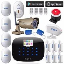 KERUI G19 APP télécommande 433 MHz TFT couleur Écran UI menu intelligent Système D'alarme GSM + extérieure wifi ip caméra appel sms système D'alarme