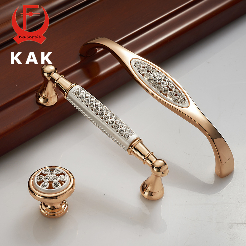 KAK Champagne Gold Door Handles with diamond Luxury Zinc Alloy Cabinet Drawer Knobs European Wardrobe Furniture Handle