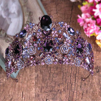 Magnificent Purple Crystal Wedding Bridal Tiara Crown Bride Party Antique Red Copper Diadem Hair Ornaments Bridal Hair Jewelry
