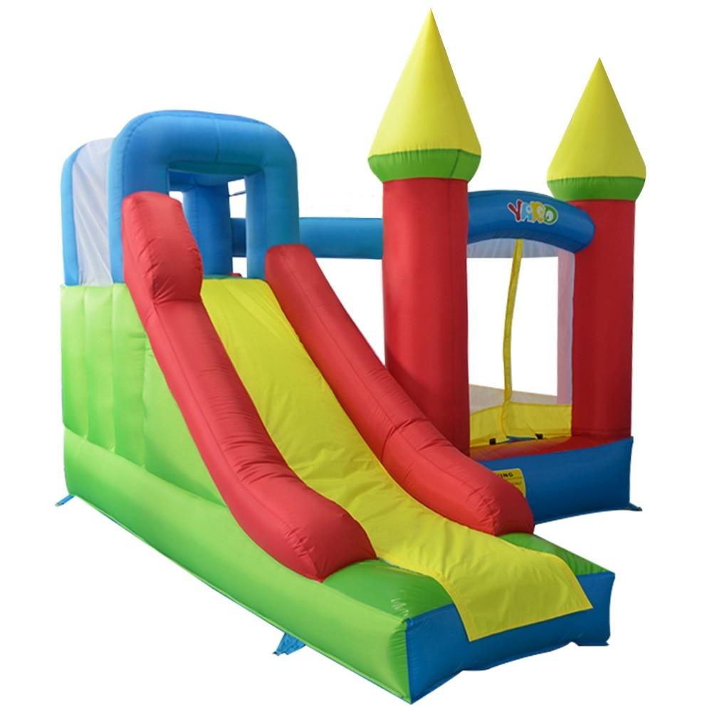 ヤードトランポリン警備員キャッスルハウス付きスライド子供のトランポリンインフレータブルゲームおもちゃジャンピング城送風機無料ボール