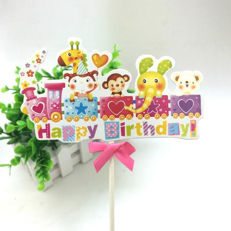 1pc new Creative Lovely Train Animal Cupcake Cake Toppers Picks Kids happy Birthday Party Decorations Supplies