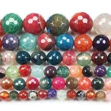 Граненые многоцветные трещины Агаты 6 16 мм круглые бусины 15