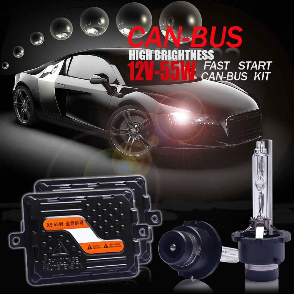 Top quality 12V/55W Ultra CANBUS/Fast bright Car HID headlight kit Xenon Ballast D2H/H1/H7/H11/9005/9012/HIR2/H4 Bi-Xenon