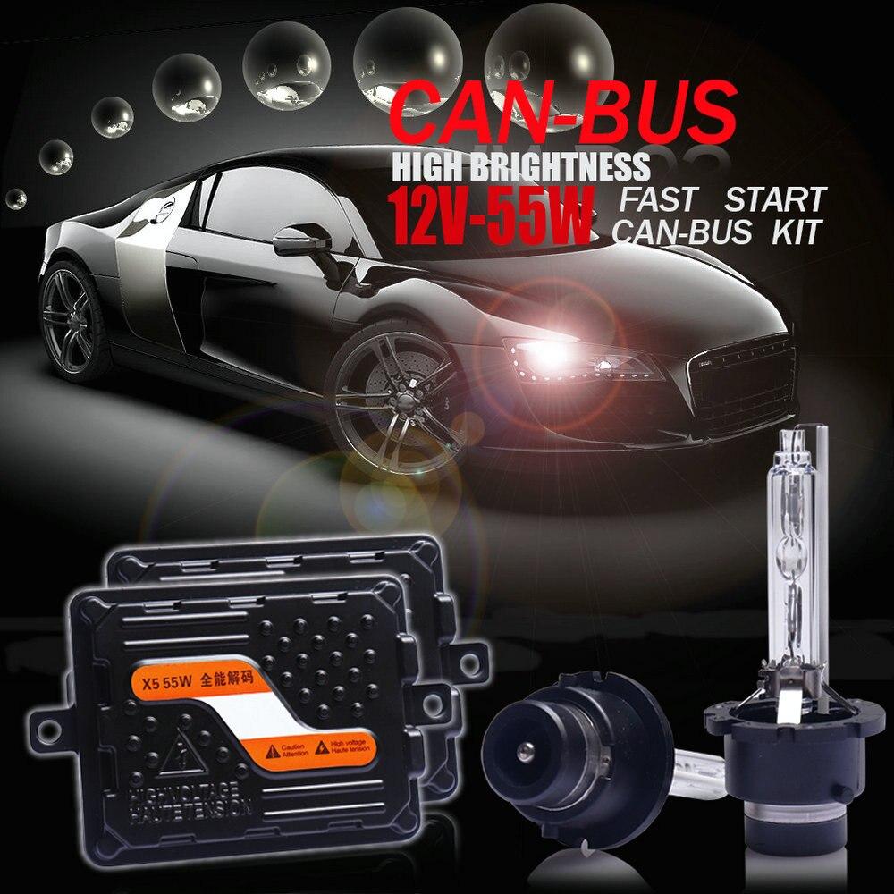 Top Quality 12V/55W Ultra CANBUS/Fast Bright Car HID Headlight Kit Xenon Ballast D2H/H1/H7/H11/9005/9012/HIR2/H4 Bi-Xenon