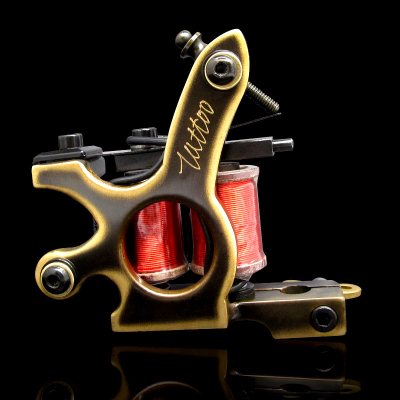 Handmade Whole Wire Cutting Copper Machine Tattoo Machine 10 Wraps Coil Tattoo Gun Liner and Shader