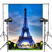 150x220cm Blue Light Photography Background Paris Eiffel Tower Photo Studio Photography Backdrop цена
